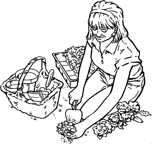 Garden, : Digging Hole for Rose Flower Garden Coloring Pages