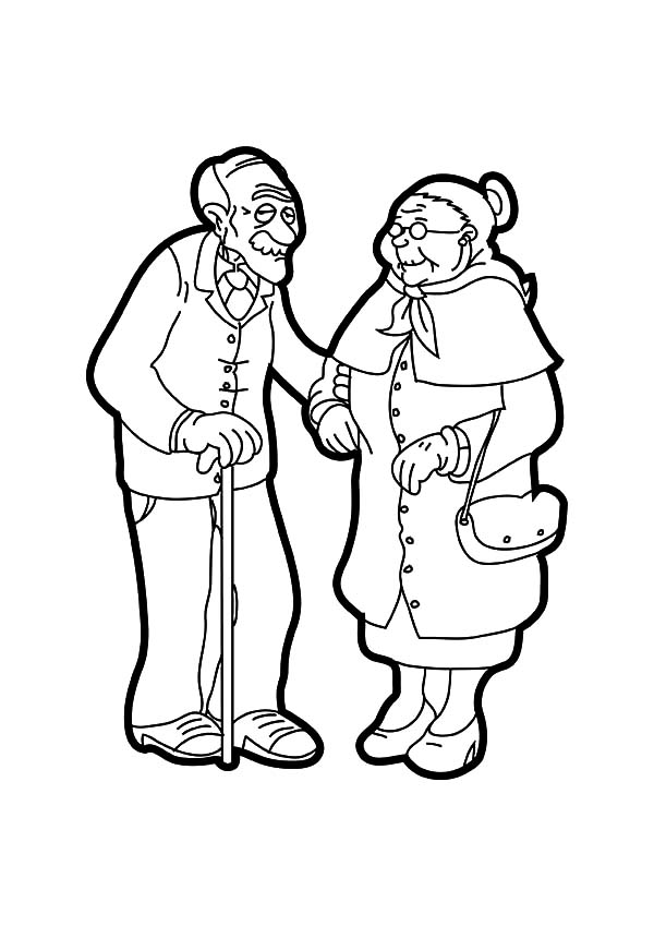 Grandfather, : Drawing Grandfather and Grandmother Coloring Pages