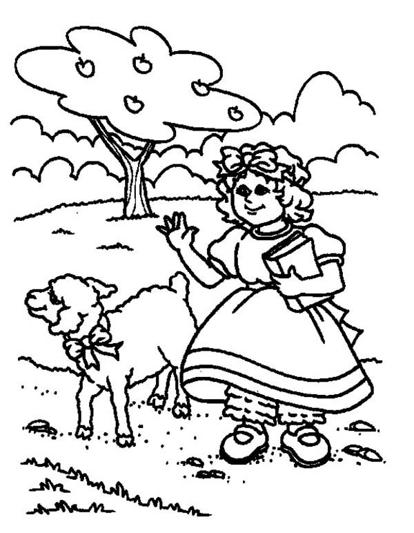 Mary Had a Little Lamb, : Drawing Mary Had a Little Lamb Coloring Pages
