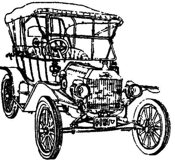 Model t Car, : Drawing Model T Car Coloring Pages