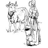 Milking Cow, Dutch Lady Want To Milking Her Cow Coloring Pages: Dutch Lady Want to Milking Her Cow Coloring Pages