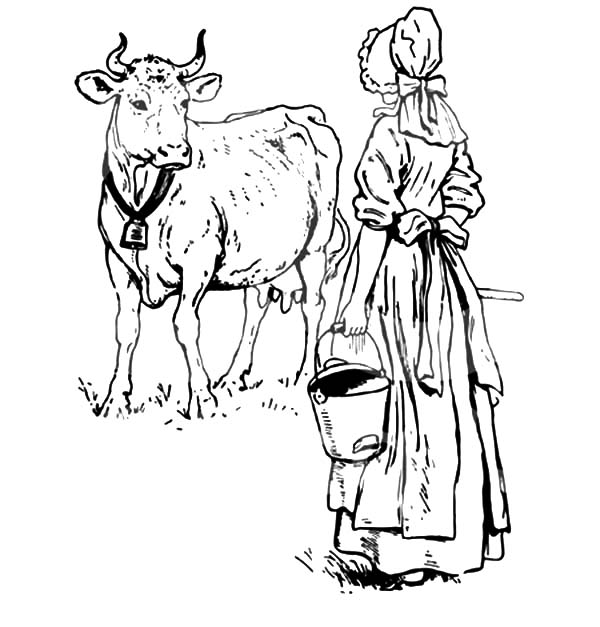 Milking Cow, : Dutch Lady Want to Milking Her Cow Coloring Pages