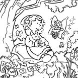 Garden, Fairy Give Treasure Chest In Garden Coloring Pages: Fairy Give Treasure Chest in Garden Coloring Pages