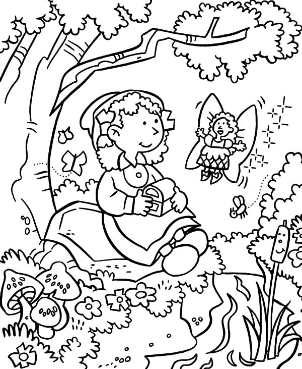 Garden, : Fairy Give Treasure Chest in Garden Coloring Pages