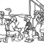 Milking Cow, Farmer Family Doing Milking Cow Coloring Pages: Farmer Family Doing Milking Cow Coloring Pages