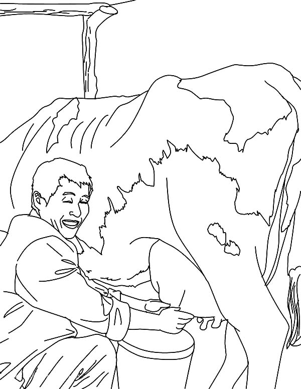 Milking Cow, : Farmer Milking Cow Job Coloring Pages