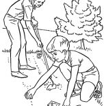 Garden, Father And Son Planting Seed In The Garden Coloring Pages: Father and Son Planting Seed in the Garden Coloring Pages