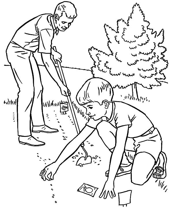 Garden, : Father and Son Planting Seed in the Garden Coloring Pages