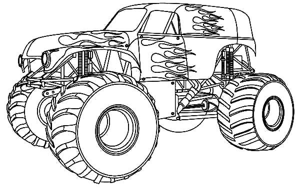 Monster Jam, : Fire Monster Truck at Monster Jam Coloring Pages