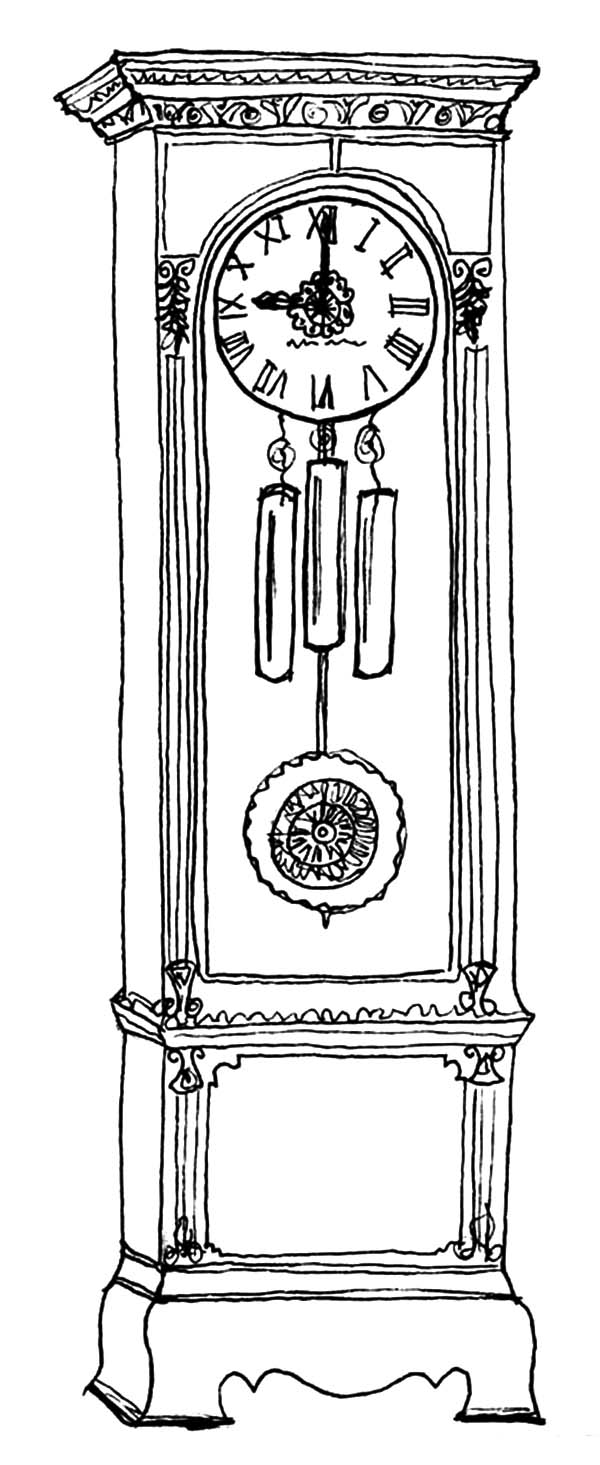 Grandfather Clock, : Floor Grandfather Clock Coloring Pages