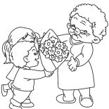 Grandmother, Flower Bouquet For Our Grandmother Coloring Pages: Flower Bouquet for Our Grandmother Coloring Pages
