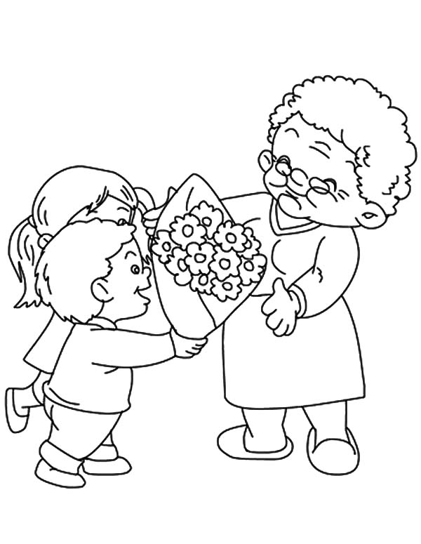Grandmother, : Flower Bouquet for Our Grandmother Coloring Pages