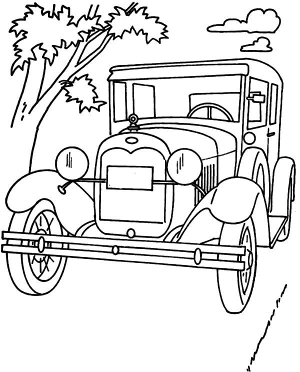 Model t Car, : Ford Classic Model T Car Coloring Pages