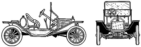 Model t Car, : Ford Model T Car Speedster 1915 Coloring Pages