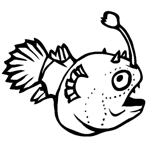 Monster Fish, : Funny Monster Fish Coloring Pages