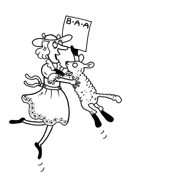 Mary Had a Little Lamb, : Funny Picture of Mary Had a Little Lamb Coloring Pages