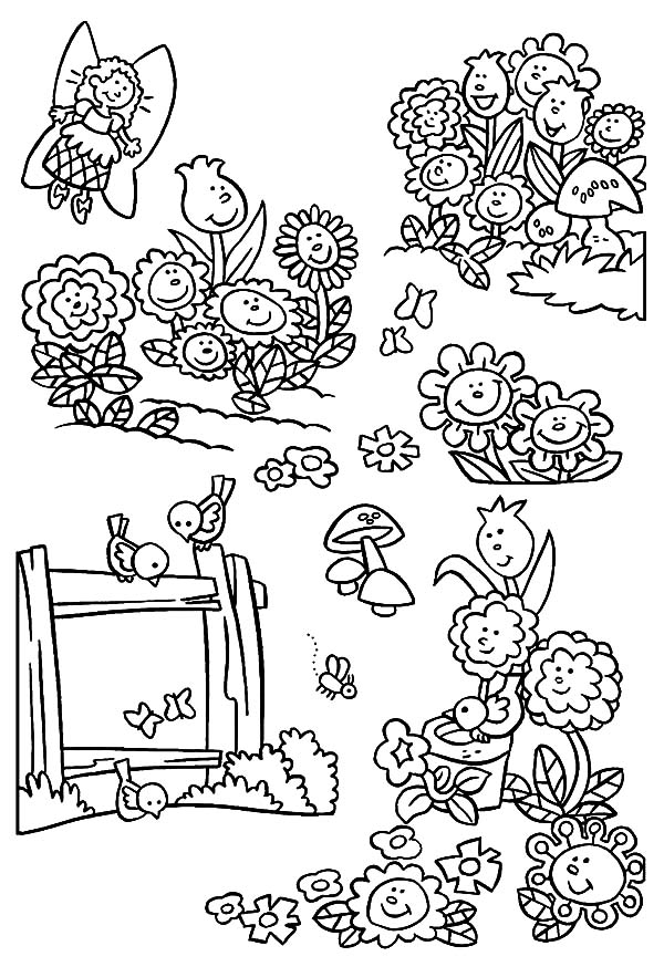 Garden, : Garden of Singing Flower Coloring Pages
