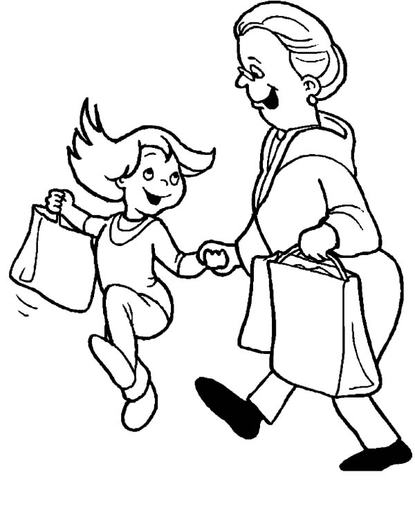 Grandmother, : Girl Going to Supermarket with Grandmother Coloring Pages