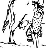 Milking Cow, Girl Start To Milking Cow Coloring Pages: Girl Start to Milking Cow Coloring Pages