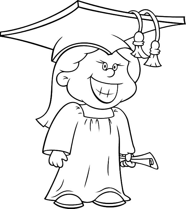 Graduation, : Girl Wide Smile Her on Graduation Day Coloring Pages