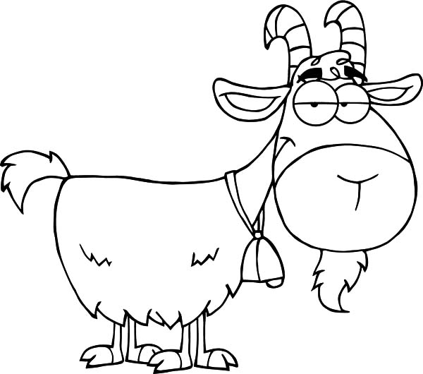 Goat, : Goat Cartoon Character Coloring Pages