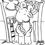 Goat, Goat Chewing A Sock Coloring Pages: Goat Chewing a Sock Coloring Pages