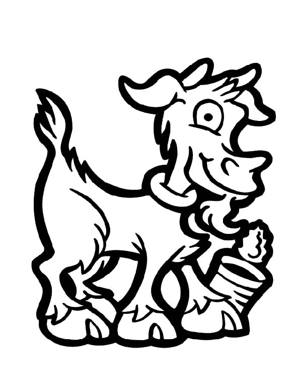 Goat, : Goat and Empty Can Coloring Pages