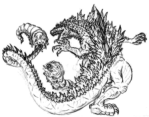 Godzilla, : Godzilla Attacked by the Mothra Twins Coloring Pages