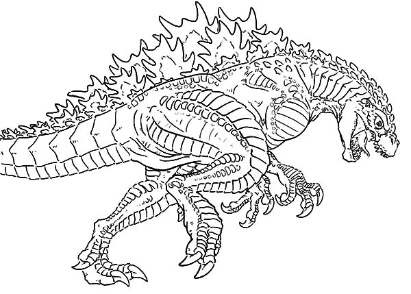 Godzilla, Godzilla Chasing Enemy Coloring Pages: Godzilla Chasing Enemy Coloring Pages