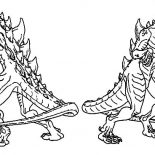 Godzilla, Godzilla Couple Coloring Pages: Godzilla Couple Coloring Pages