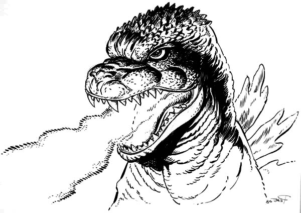 Godzilla, Godzilla Dangerous Fire Breath Coloring Pages: Godzilla Dangerous Fire Breath Coloring Pages