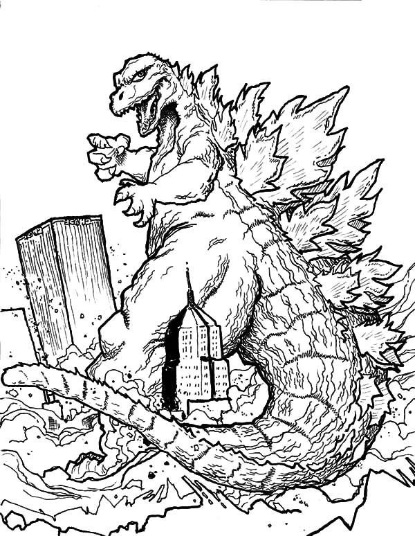 Godzilla, Godzilla Destroying Town Coloring Pages: Godzilla Destroying Town Coloring Pages