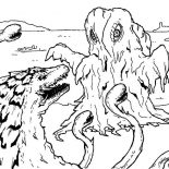 Godzilla, Godzilla Facing Sea Monster Coloring Pages: Godzilla Facing Sea Monster Coloring Pages