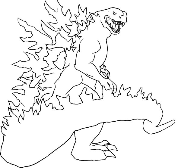 Godzilla, : Godzilla Set on Fire Coloring Pages