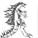 Godzilla, Godzilla Sharp Spine Coloring Pages: Godzilla Sharp Spine Coloring Pages