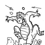 Godzilla, Godzilla Stepping On A Building Coloring Pages: Godzilla Stepping on a Building Coloring Pages