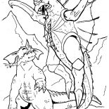 Godzilla, Godzilla Teach Her Kid To Fly Coloring Pages: Godzilla Teach Her Kid to Fly Coloring Pages