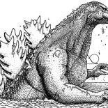 Godzilla, Godzilla Walking In The Sea Coloring Pages: Godzilla Walking in the Sea Coloring Pages