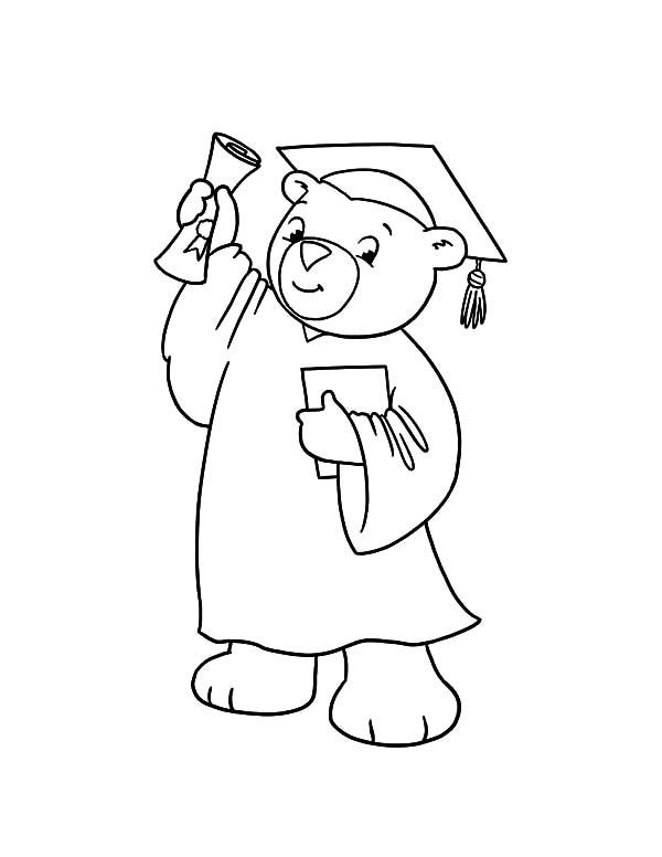 Graduation, : Graduation Bear Show His Diploma Coloring Pages