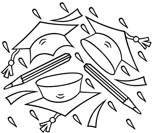 Graduation, : Graduation Cap and Pencil Coloring Pages