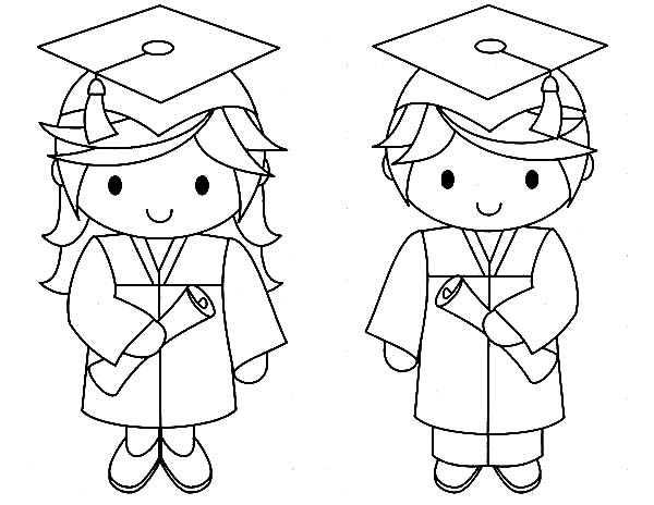 Graduation, : Graduation Couple Coloring Pages