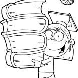 Graduation, Graduation Girl Walking With Pile Of Books Coloring Pages: Graduation Girl Walking with Pile of Books Coloring Pages