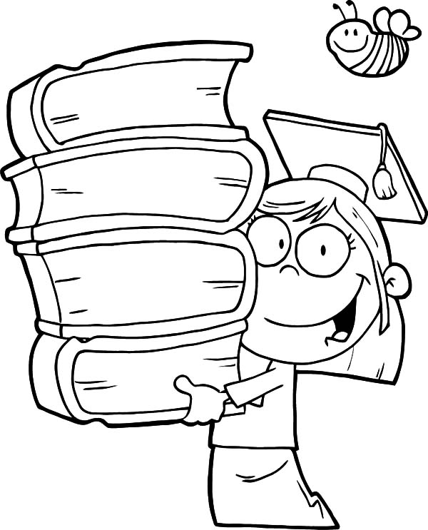 Graduation, : Graduation Girl Walking with Pile of Books Coloring Pages