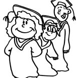 Graduation, Graduation Student Standing In Line Coloring Pages: Graduation Student Standing in Line Coloring Pages