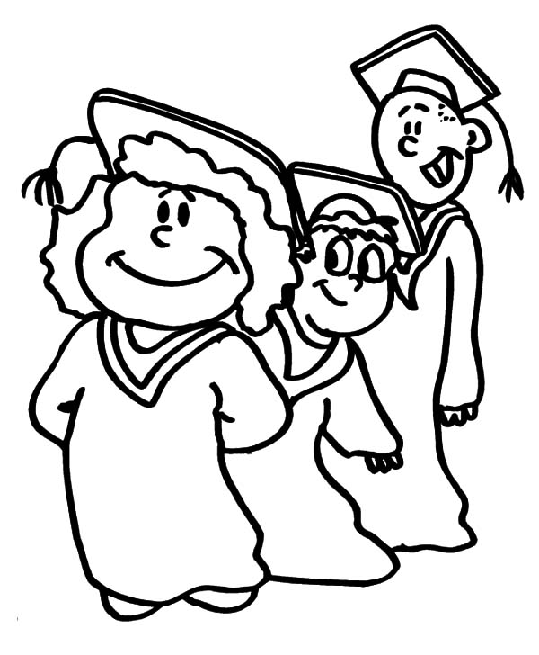 Graduation, : Graduation Student Standing in Line Coloring Pages