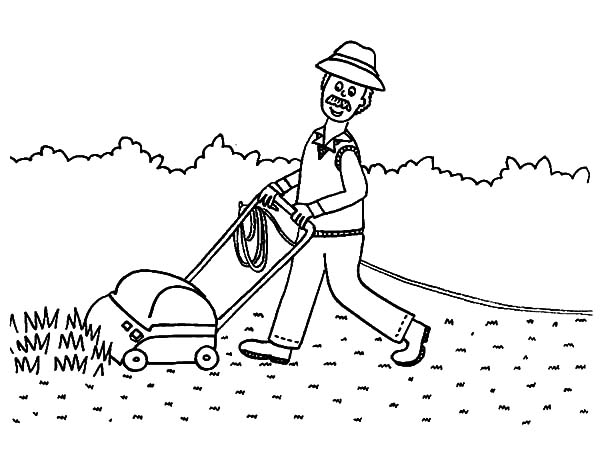 Grass, : Grandfather Almost Finish Mowing Grass Coloring Pages