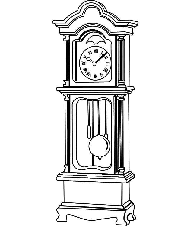 Grandfather Clock, : Grandfather Clock Beautiful Fretwork Coloring Pages