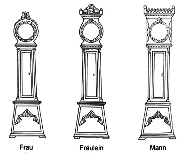 Grandfather Clock, : Grandfather Clock Various Type Coloring Pages