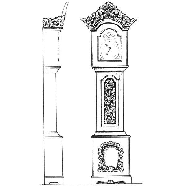 Grandfather Clock, : Grandfather Clock from Front and Side View Coloring Pages