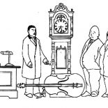 Grandfather Clock, Grandfather Clock In Antique Store Coloring Pages: Grandfather Clock in Antique Store Coloring Pages